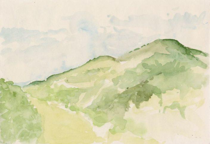 Vogezen, uitzicht Im Berg 3 (aquarel, 2014)