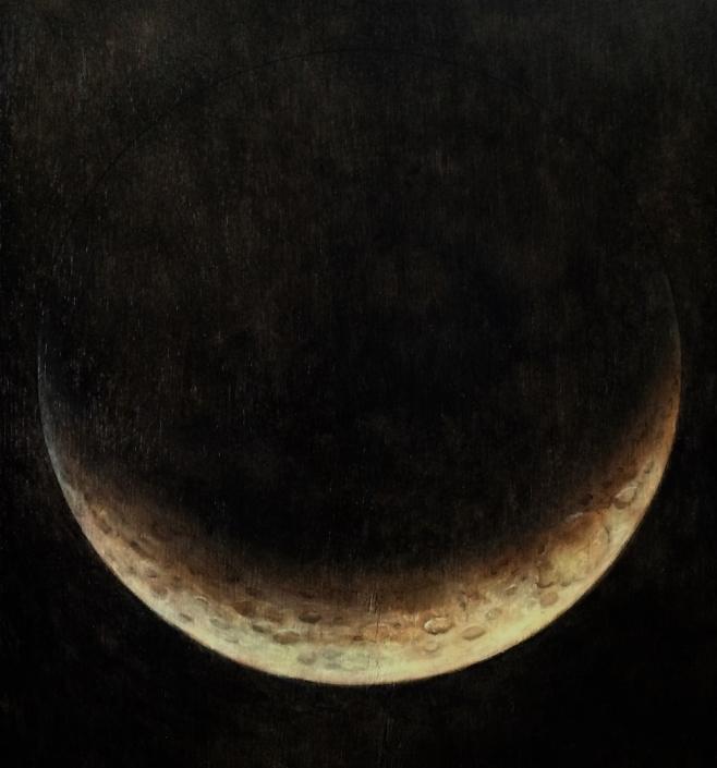 Maan, Sikkel (olieverf op paneel 20 x 25 cm)