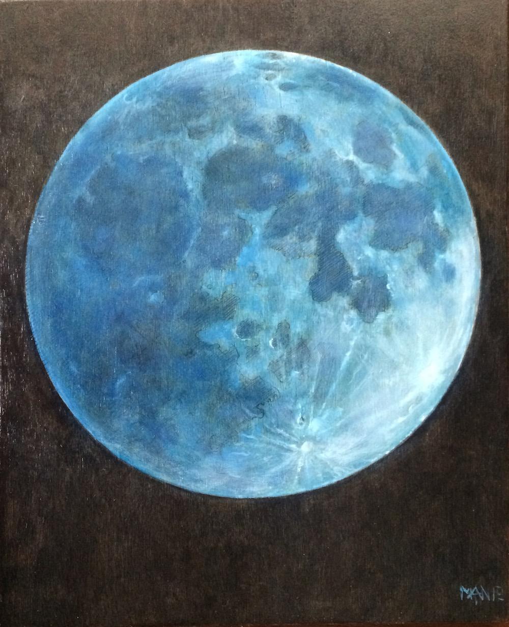 Maan,Blauw (olieverf op paneel 20 x 25 cm)