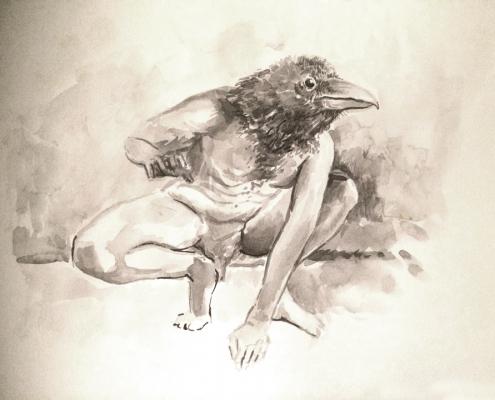 vogelman 1 (penseel en parkerinkt)