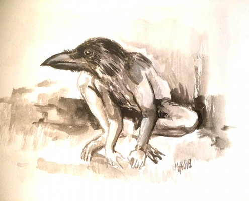 vogelman 2 (penseel en parkerinkt)